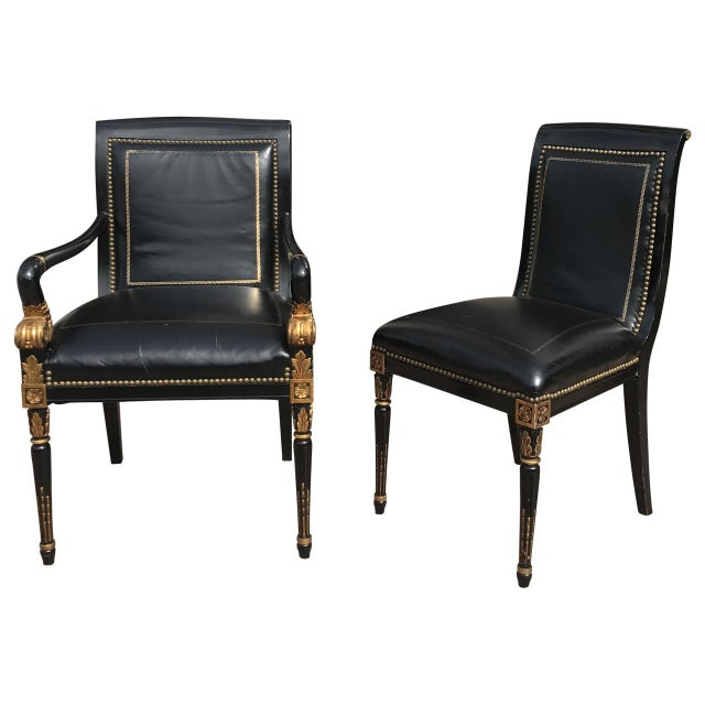 French Empire Leather Chairs - a Pair - Image 2 of 7