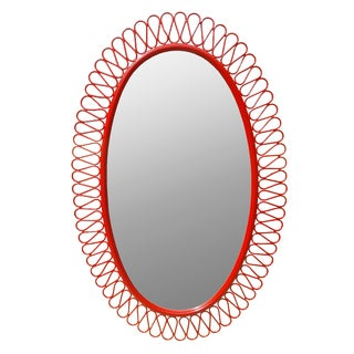French Red Lacquer Iron Oval Mirror