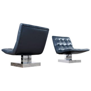 Leather & Chrome Milo Baughman Chairs - A Pair