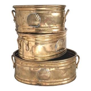 Oval Nesting Brass Shell Motif Cachepots - Set of 3