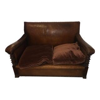 Vintage French Leather & Oak Loveseat