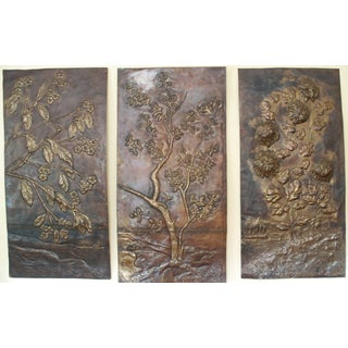 Antique Brass Wall Panels - Set of 3