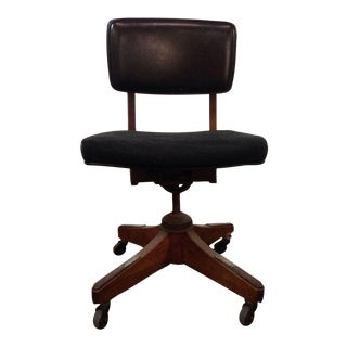 Traditional Carved Walnut Upholstered Office Chair