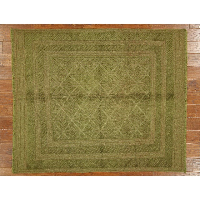"Overdyed Green Handmade Rug - 4'10"" x 6' - Image 2 of 8"