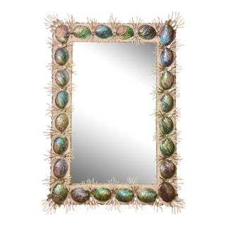 Contemporary Abalone & Faux Coral Branch Framed Mirror