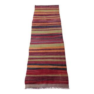 "Stripe Design Anatolian Turkish Kilim - 7'11"" x 2'8"""
