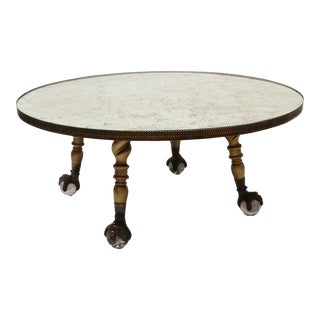 Hollywood Regency Round Mirror Coffee Table