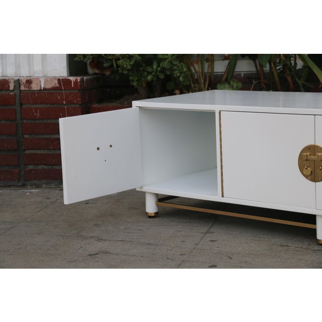 White Mid Century Oriental Low Credenza - Image 3 of 10