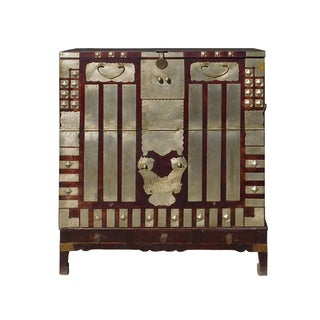 Vintage Korean Style Silver Hardware Trunk Cabinet