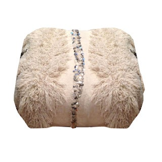 Vintage Moroccan Wedding Blanket Pouf
