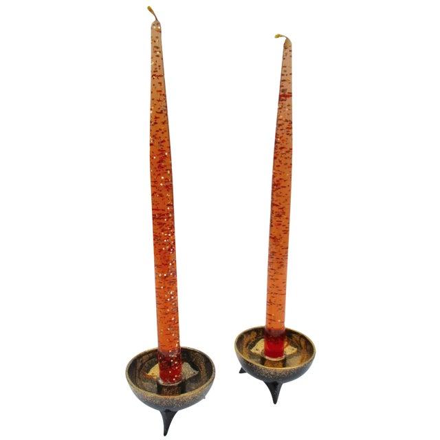 Image of Atomic Orange Lucite Candles On Ceramic Base - A Pair
