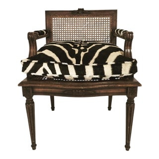 French Louis Xvi Style Boudoir Chair With Cane & Custom Zebra Hide Cushion