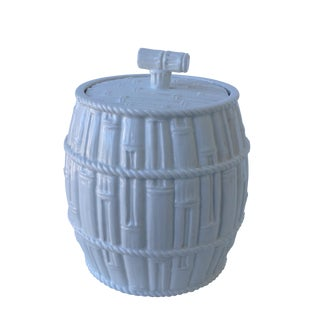 Italian Porcelain Bamboo-Style Lidded Container