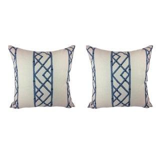 "Sarah Richardson ""Lattices"" in Ultramarine Pillows - a Pair"