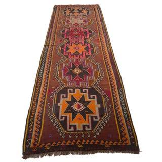 Turkish Kilim Handwoven Anatolia Kars Rug - 4′10″ × 14′