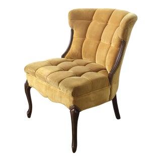 Yellow Tufted Velvet Side Chair
