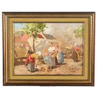 Gyula Nemeth -Women at an Outdoor Market- Hungarian Oil Painting C.1910