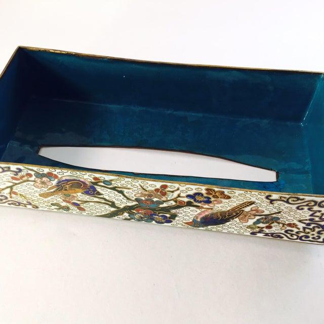Vintage Cloisonné Enamel & Brass Tissue Holder - Image 4 of 4