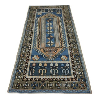 Vintage Turkish Hand Knotted Rug - 3′6″ × 7′7″