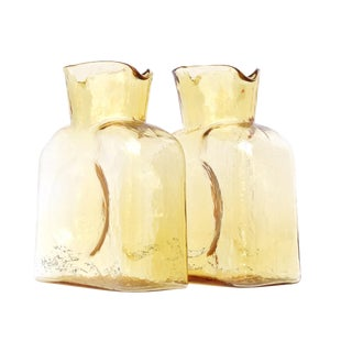 Mid-Century Blenko Yellow Glass Pitcher - A Pair