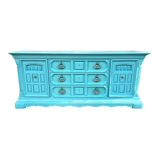 Custom Blue Vintage Wooden Buffet