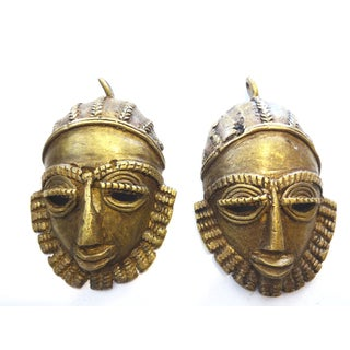 Baule Bronze Weight Passport Pendants - A Pair