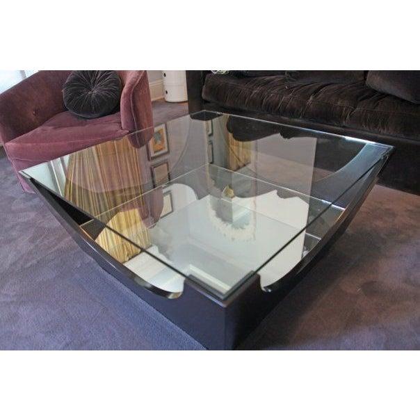 Black bi level glass top coffee table chairish for 3 level coffee table