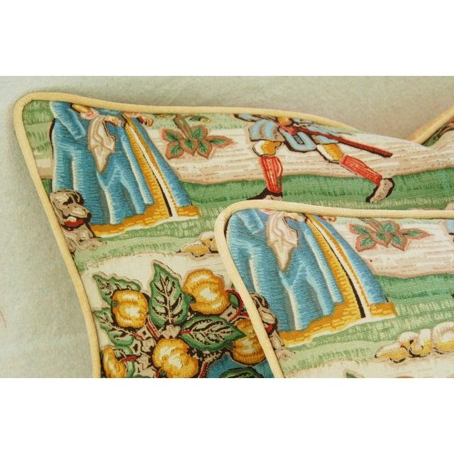 Designer Brunschwig & Fils Medieval Pillows - Pair - Image 4 of 8