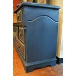Image of Mirrored 8-Drawer Navy Blue Dresser