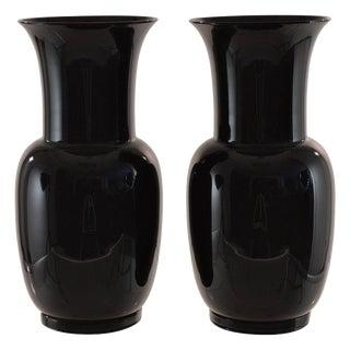 Venini, Pair of Signed Black Glass Urns, 1978
