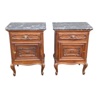 Vintage French Marble Single Drawer Nightstands - A Pair