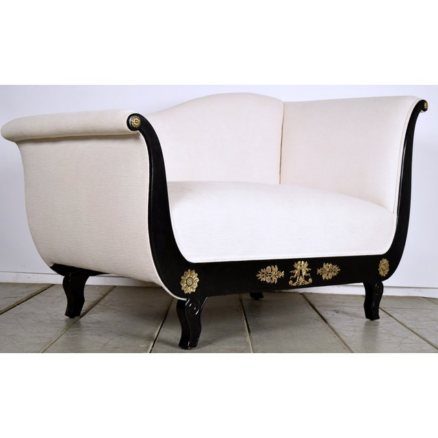 Antique french empire chaise lounge settee chairish for Antique french chaise lounge