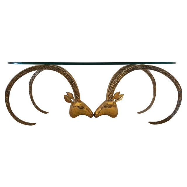 Patinated Brass Ibex Coffee Table After Chervet - Image 1 of 4