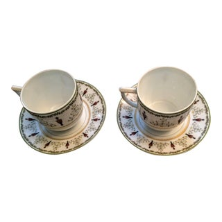 Limoge Grenadiers Holiday Cup & Saucer Sets - A Pair
