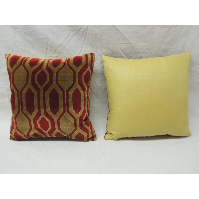 Modern Gold Pillows : Modern Red & Gold Silk Velvet Pillows - A Pair Chairish