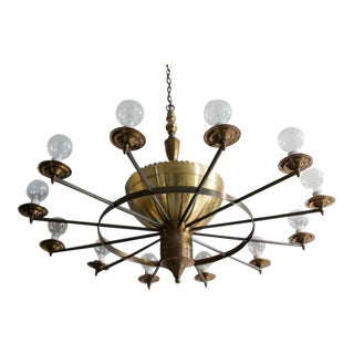 Twelve Arm Brass Chandelier