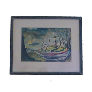 Mid-Century Signed Nighttime Watercolor