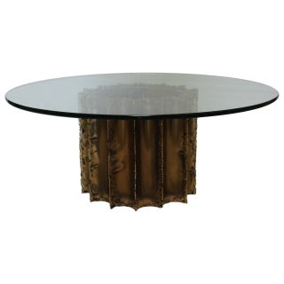 Mid-Century Brutalist Brass & Glass Cocktail Table