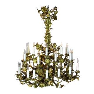 Gilt Bronze Floral Electrified 36 light chandelier