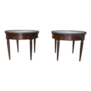 White Marble Top Louis XVI Style Bouillotte Tables - A Pair