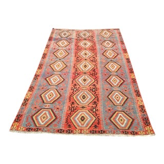 "Vintage Turkish Kilim Rug - 5'8"" X 9'2"""