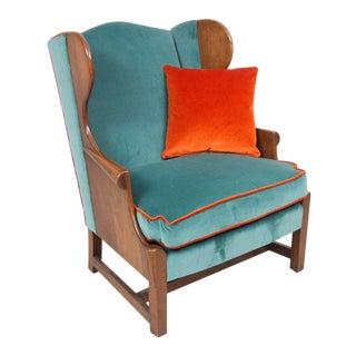 Blue Velvet Upholstered Stickley Arm Chair