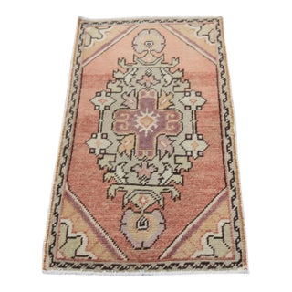 Mid-20th C. Vintage Antique Tribal Oushak Hand Knotted Turkish Rug - 1'8 X 3'4