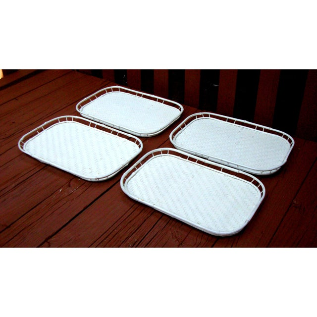 Hollywood Regency White Bamboo Rattan Trays - Image 3 of 11