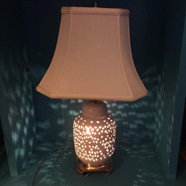 Blanc De Chine Reticulated Brass Lamp Pair Chairish