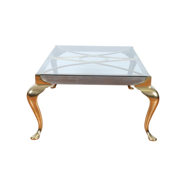 Brass Coffee Table With Glass Top - Image 1 of 10