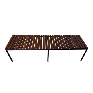 Knoll Style Mid-Century Modern Wood & Metal Slat Bench