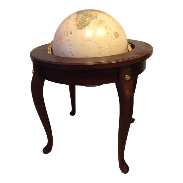 """George F. Cram Co. Floor Model Classic 16"""" World Globe with Wooden Stand - Image 1 of 5"""