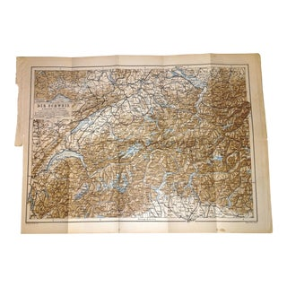 1892 Map Die Schweiz (The Swiss Alp) Highly Detailed Topographical Map