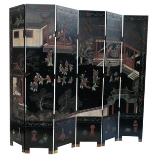 Antique Chinese 6 Panel Folding Screen